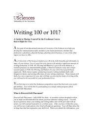 Writing 100 or 101 - University of the Sciences in Philadelphia