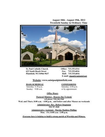 August 18th - August 19th, 2012 Twentieth Sunday in Ordinary Time ...
