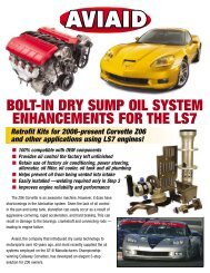 bolt-in dry sump oil system enhancements for the ls7 - Aviaid