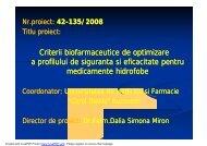 Criterii biofarmaceutice de optimizare a profilului de siguranta si