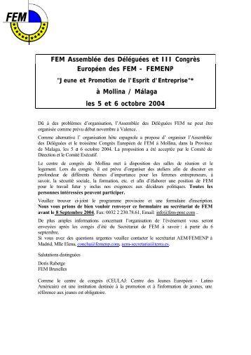 FEM Assemblée des Déléguées et III Congrès Européen des FEM ...