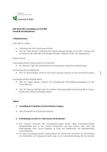 Protokoll Abschlussplenum - Universität St.Gallen