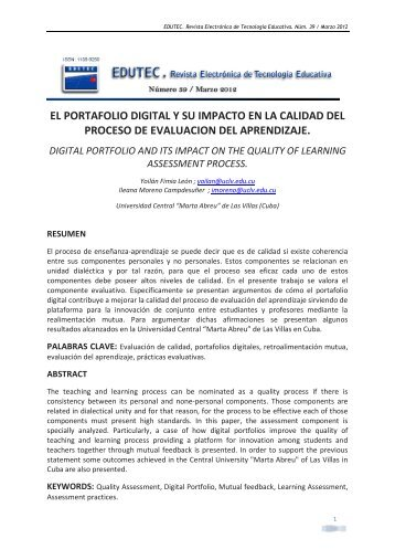 El portafolio digital y su impacto en la calidad del proceso de ...