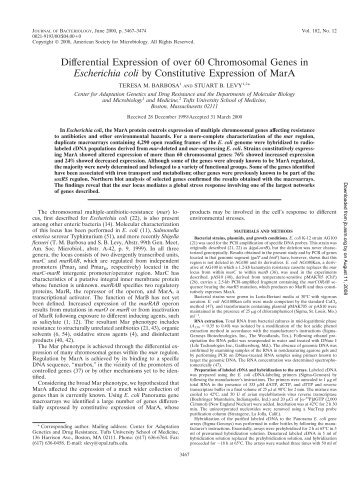 Differential Expression of over 60 Chromosomal Genes in ...
