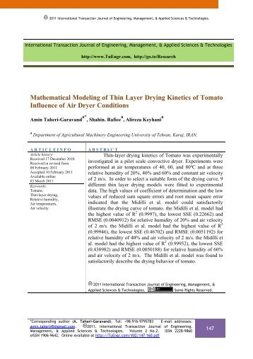 Mathematical Modeling of Thin Layer Drying Kinetics of Tomato ...