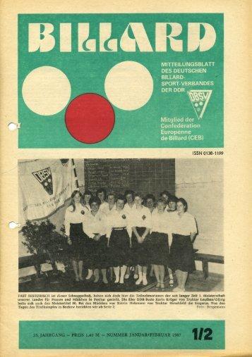 Januar 1987 - DDR Billardzeitungen 1976