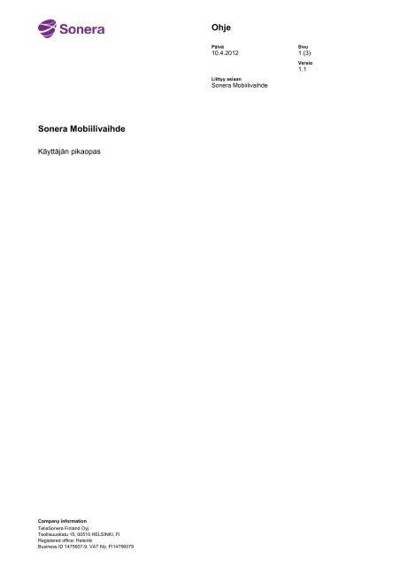 Käyttäjän pikaopas (pdf) - Sonera