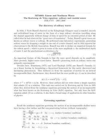 Brief notes on the derivation of the KdV equation
