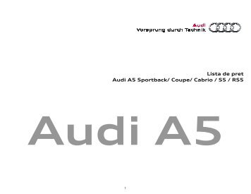 Lista de pret Audi A5 - 06.07.2010 - Audi Romania