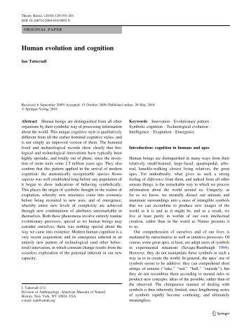 Human evolution and cognition - Springer