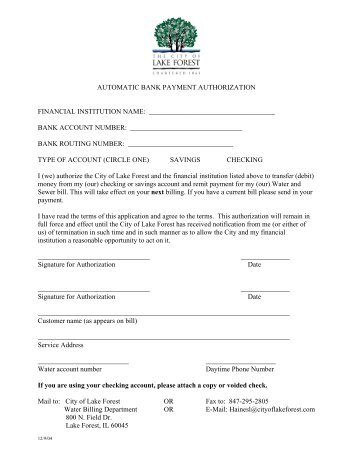 Automatic Bank Transfer Authorization Form - Black Hills Energy