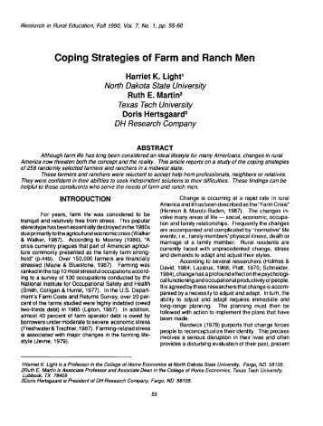 Coping Strategies of Farm and Ranch Men - Journal of Research in ...