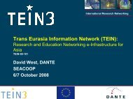 (TEIN): Research and Education Networking e-Infrastructure ... - TEIN3