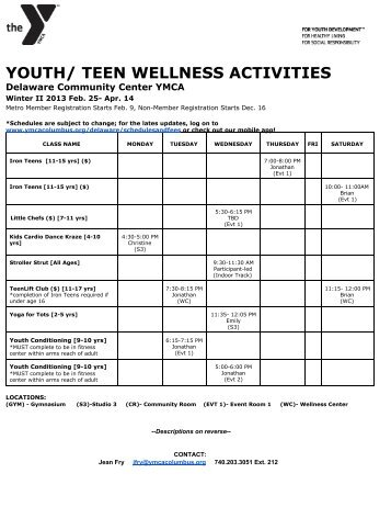 YOUTH/ TEEN WELLNESS ACTIVITIES - YMCA of Central Ohio