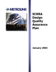 SCRRA Design Quality Assurance Plan - Metrolink