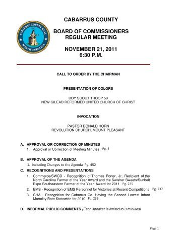cabarrus county board of commissioners regular meeting november ...