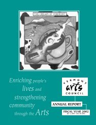 Enriching people's strengthening community - Vermont Arts Council