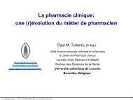 La pharmacie clinique: une (r)évolution du métier de ... - UCL