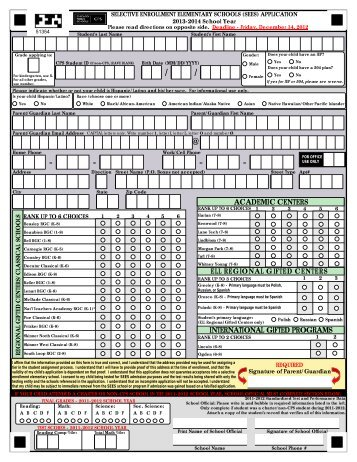Selective Enrollment Elementary Schools Application