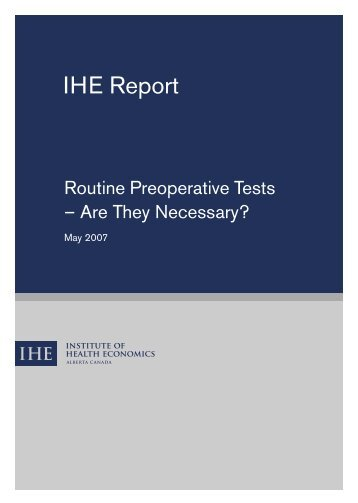 Routine Preoperative Tests – Are They Necessary?
