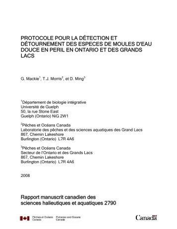 Protocole pour la détection et détournement des espèces de moules