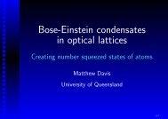 BEC in optical lattices - Physics - University of Queensland
