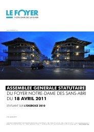Rapports Exercice 2010 - Foyer Notre-Dame des Sans-Abri