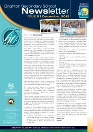 Brighton Secondary School Newsletter December 2012
