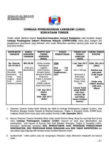 lembaga pembangunan langkawi (lada) kenyataan tender