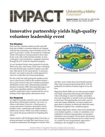 Innovative partnership yields high-quality volunteer leadership event
