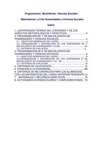 Programación Bachillerato Ciencias Sociales ... - IES Las Musas