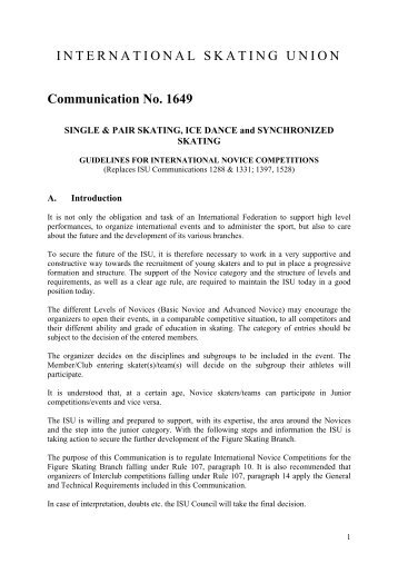 INTERNATIONAL SKATING UNION Communication No. 1649 - Fisg