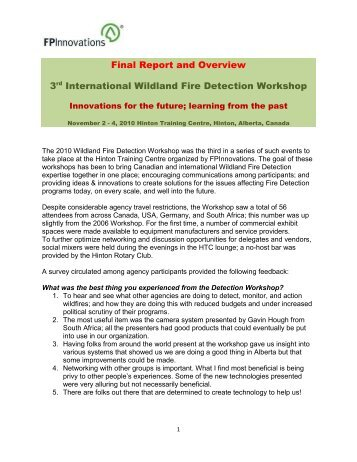 Overview of the 3rd International Wildland Fire Detection workshop