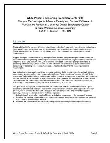 White Paper - Kelvin Smith Library - Case Western Reserve University