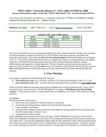 "PHYS 1100.1 ""University Physics I"": SYLLABUS GUIDE for 2009 A ..."