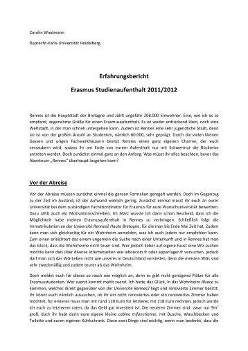 Erfahrungsbericht Erasmus Studienaufenthalt 2011/2012