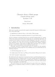 Character theory of finite groups Concise lecture notes Lectures 1–24