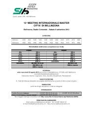 13° MEETING INTERNAZIONALE MASTER CITTA' DI BELLINZONA