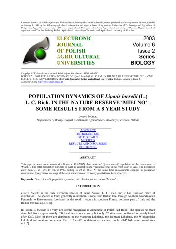 POPULATION DYNAMICS OF Liparis loeselii - Electronic Journal of ...