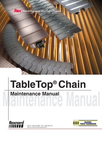 Rexnord Tabletop chain Maintenence