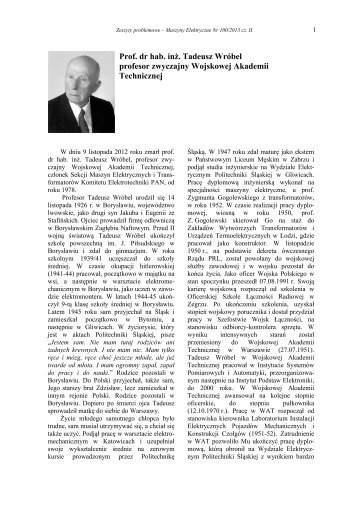 Prof. dr hab. inż. Tadeusz Wróbel profesor zwyczajny ... - Komel