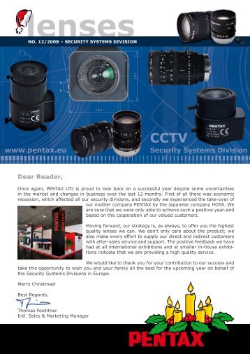 "Newsletter ""Lenses"" December 2008 - Security Systems - Pentax"