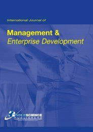 Management & Enterprise Development - Inderscience Publishers