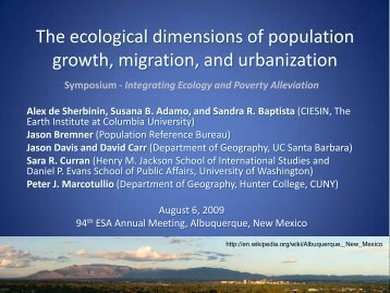The ecological dimensions of population growth, migration, and ...