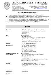 Year 8 Stationery list - Barcaldine Prep-12 State School