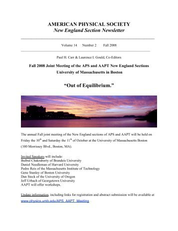 AMERICAN PHYSICAL SOCIETY New England Section Newsletter ...