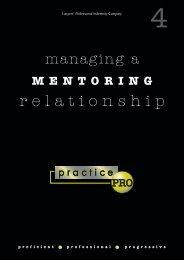 Managing a Mentoring Relationship booklet - practicePRO.ca