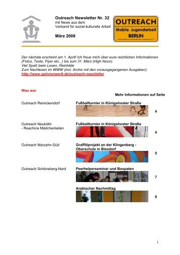Outreach Newsletter Nr. 32 März 2008 - Spinnenwerk