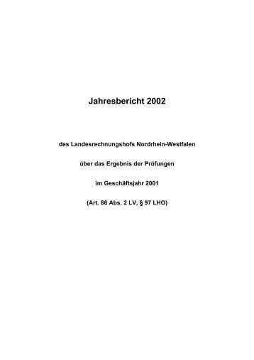 Jahresbericht 2002 - Landesrechnungshof des Landes Nordrhein ...