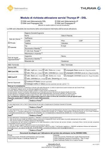 Modulo di richiesta attivazione servizi Thuraya IP - DSL - Intermatica
